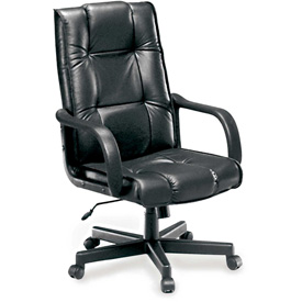 OFM Leather Executive Conference Chair, High Back, Black