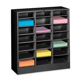 Letter Size 21 Compartment Steel Literature Sorter - Black