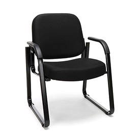 OFM Reception Guest Chair with Arms and Extra Thick Cushion - Fabric - Mid Back - Black