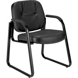 OFM Guest Chair with Extra Thick Cushion - Leather - Mid Back - Black