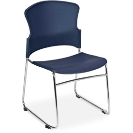 OFM Stacking Chair - Plastic - Mid Back - Blue - Pkg Qty 4