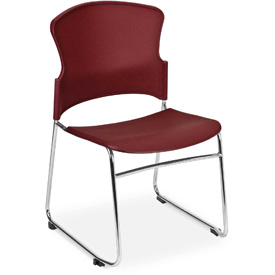 OFM Stacking Chair - Plastic - Mid Back - Burgundy - Pkg Qty 4
