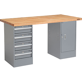 "60"" W x 30"" D Pedestal Workbench with  Drawers & Cabinet, Maple Butcher Block Square Edge - Gray"