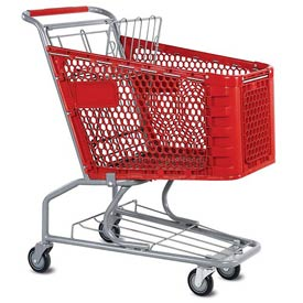 VersaCart® Red Plastic Shopping Cart 3.5 Cu. Foot Capacity 102-085-RED-BH