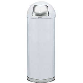 21 Gallon Round Top Waste Receptacle with Plastic Liner - White