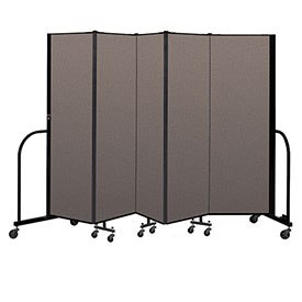 "Screenflex Portable Room Divider 5 Panel, 6'H x 9'5""L, Fabric Color: Oatmeal"