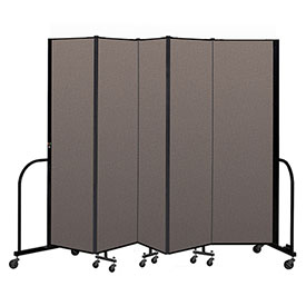 "Screenflex Portable Room Divider 5 Panel, 6'8""H x 9'5""L, Fabric Color: Oatmeal"