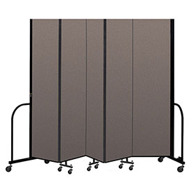 "Screenflex Portable Room Divider 5 Panel, 7'4""H x 9'5""L, Fabric Color: Oatmeal"
