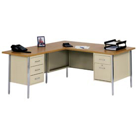 "72"" x 66"" L-Desk With Left Return-Putty/Oak Top"