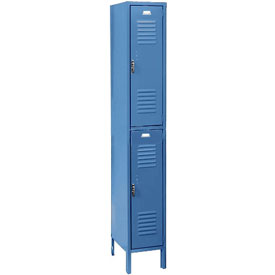 Penco 6233V-1-806SU Vanguard Locker Pull Latch Double Tier 12x15x36 2 Doors Assembled Marine Blue