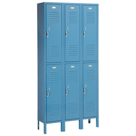 Penco 6233V-3-806SU Vanguard Locker Pull Latch Double Tier 12x15x36 6 Doors Assembled Marine Blue