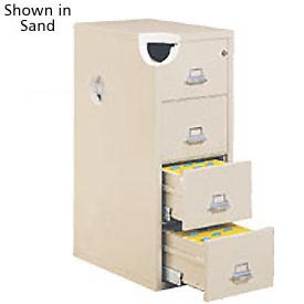 "Fireking Fireproof 4 Drawer Vertical File Cabinet - Letter Size 18""W x 31-1/2""D x 53""H - Putty"