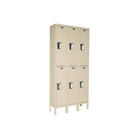 Hallowell UY3258-2A-PT Locker Double Tier 12x15x36 6 Door Assembled Parchment