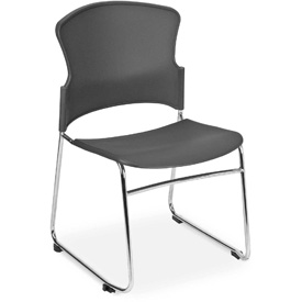 OFM Multi-Use Stack Chair with Plastic Seat and Back, Gray - Pkg Qty 4