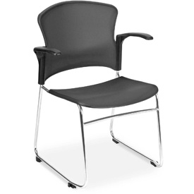 OFM Stacking Chair with Arms - Plastic - Mid Back - Black - Pkg Qty 4