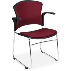 OFM Stacking Chair with Arms - Fabric - Mid Back - Burgundy - Pkg Qty 4