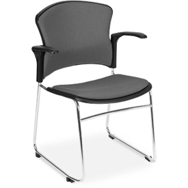 OFM Stacking Chair with Arms - Fabric - Mid Back - Gray - Pkg Qty 4