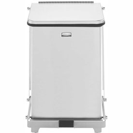 Rubbermaid® QST7RB Defenders® Fire Safe Silent Step On Stainless Steel Trash Can, 7 Gallon