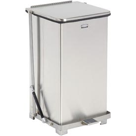 Rubbermaid® QST12RB Defenders® Fire Safe Silent Step On Stainless Steel Trash Can, 12 Gal.