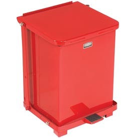 Rubbermaid® ST7ERB Defenders® Fire Safe Step On Metal Trash Cans, 7 Gallon, Red