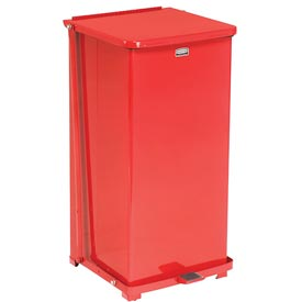 Rubbermaid® ST24ERB Defenders® Fire Safe Step On Metal Trash Cans, 24 Gallon, Red