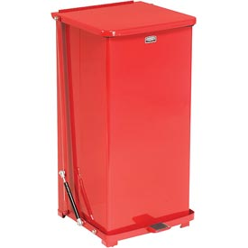 Rubbermaid® QST24ERB Defenders® Fire Safe Silent Step On Metal Trash Can, 24 Gallon, Red