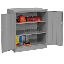 Tennsco Counter Height Industrial Storage Cabinet 1842 02 - 36x18x42 Medium Grey