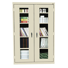 Sandusky Clear View Storage Cabinet EA4V461872 - 46x18x72, Putty