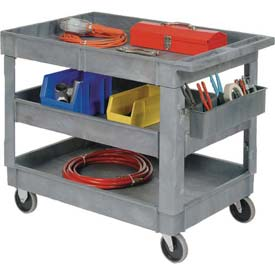 "Best Value Plastic 3 Shelf Tray Service & Utility Cart 5"" Rubber Casters"
