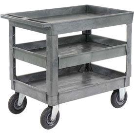 "Best Value Plastic 3 Shelf Tray Service Cart 8"" Pneumatic Caster"