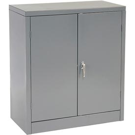 Tennsco Counter High Metal Storage Cabinet 1442 02 - 36x18x42 Medium Grey