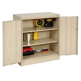 Tennsco Counter High Metal Storage Cabinet 1442 214 - 36x18x42 Sand
