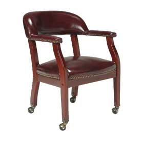 Boss Conference Chair with Arms and Casters - Vinyl - Red