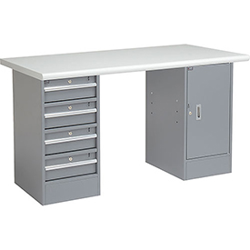 "72"" W x 30"" D Pedestal Workbench W/4 Drawers & 1 Cabinet, Plastic Laminate Safety Edge - Gray"