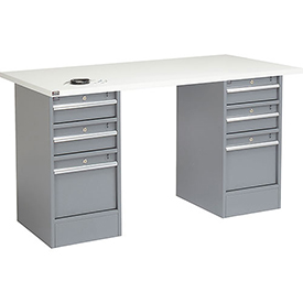 "60"" W x 30"" D Pedestal Workbench W/ 6 Drawers, ESD Square Edge - Gray"
