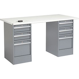 "72"" W x 30"" D Pedestal Workbench W/ 6 Drawers, ESD Safety Edge - Gray"