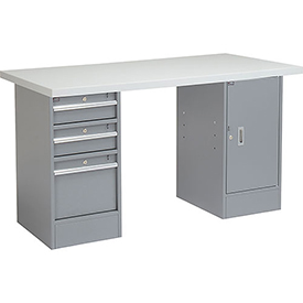 "60"" W x 30"" D Pedestal Workbench W/ 3 Drawer &1 Cabinet, Plastic Laminate Square Edge - Gray"
