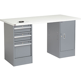 "72"" W x 30"" D Pedestal Workbench W/ 3 Drawers & Cabinet, ESD Square Edge - Gray"
