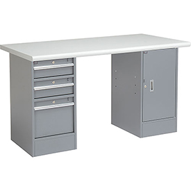 "72"" W x 30"" D Pedestal Workbench W/ 3 Drawers & 1 Cabinet, Plastic Laminate Safety Edge - Gray"
