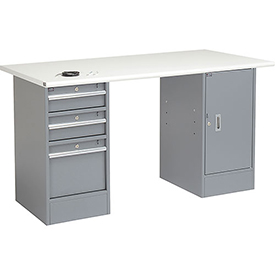 "60"" W x 30"" D Pedestal Workbench W/ 3 Drawers & Cabinet, ESD Safety Edge - Gray"