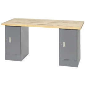 "72"" W x 30"" D Pedestal Workbench W/ 2 Cabinets, Maple Butcher Block Safety Edge - Gray"