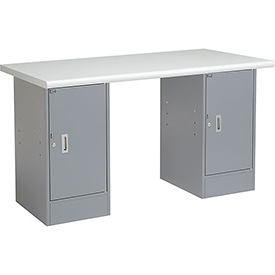 "60"" W x 30"" D Pedestal Workbench W/ 2 Cabinets, Plastic Laminate Safety Edge - Gray"