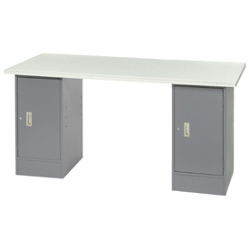 "72"" W x 30"" D Pedestal Workbench W/ 2 Cabinets, ESD Safety Edge - Gray"