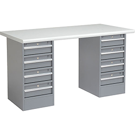 "72"" W x 30"" D Pedestal Workbench W/ 8 Drawers, Plastic Laminate Safety Edge - Gray"