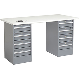 "60"" W x 30"" D Pedestal Workbench W/ 8 Drawers, ESD Safety Edge - Gray"