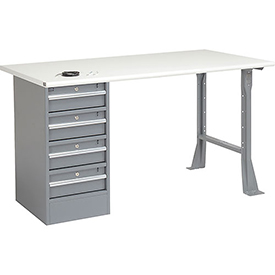 "72"" W x 30"" D Pedestal Workbench W/ 4 Drawers, ESD Safety Edge - Gray"