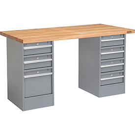 "60"" W x 30"" D Pedestal Workbench W/ 7 Drawers, Maple Butcher Block Square Edge - Gray"