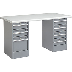 "72"" W x 30"" D Pedestal Workbench W/ 7 Drawers, Plastic Laminate Safety Edge - Gray"