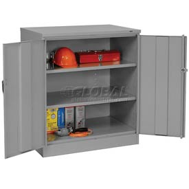Tennsco Counter Height Industrial Storage Cabinet 2442 02 - 36x24x42 Medium Grey