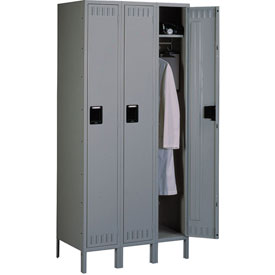 Tennsco Steel Locker STS-121272-3 02 - Single Tier w/Legs 3 Wide 12x12x72 Assembled, Medium Grey